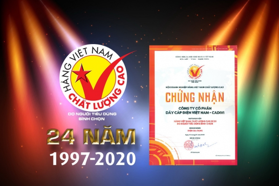 CADIVI PRODUCTS HAS CERTIFIED THE 24th HIGH QUALITY VIETNAMESE PRODUCTS