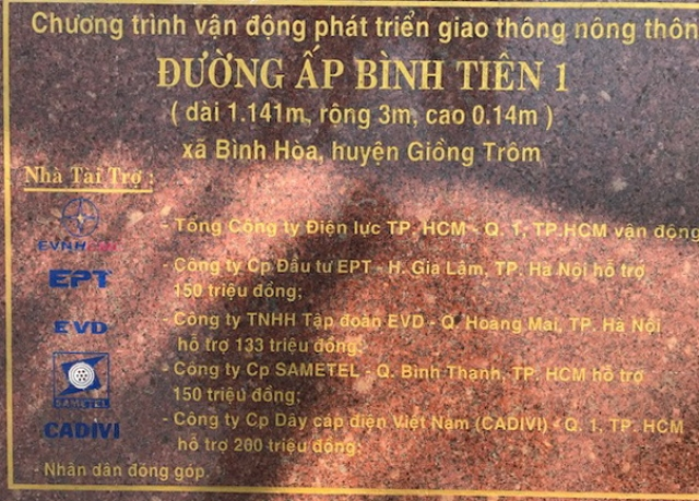 CADIVI Company funded construction of the road of Binh Tien Hamlet in Giong Trom (Ben Tre)